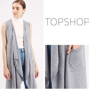 TOPSHOP Gray Sleeveless Long Waterfall Cardigan